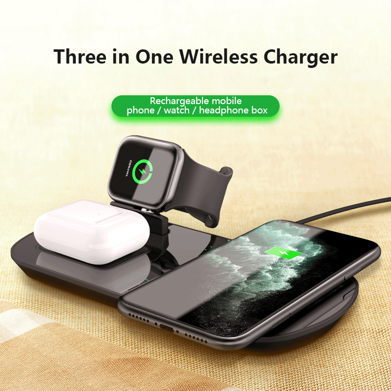 WA06 3IN1 Wireless Charger for Airpods Pro Mobile Phone Watch Wireless Fast Charge Three-in-one Wireless Charger Station