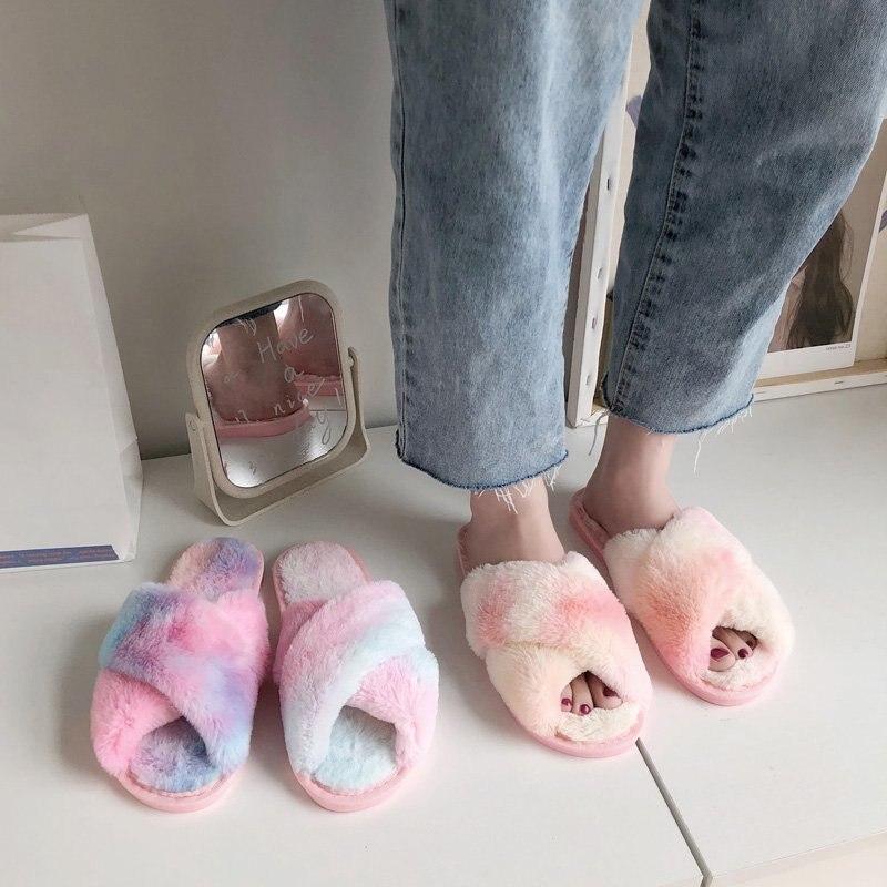 Разноцветные женские пушистые тапочки; Зимние плюшевые тапочки с перекрестной шнуровкой; Обувь на плоской подошве; Теплые тапочки из искусственного меха; Домашняя женская обувь|Тапочки|   | АлиЭкспресс