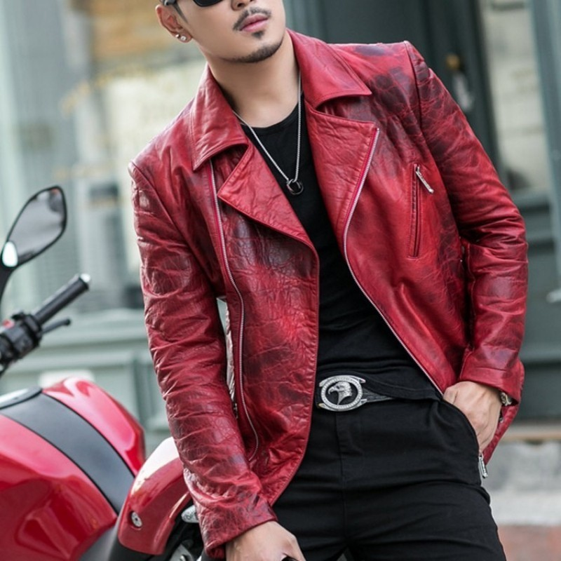 2020 New Luxury Sheepskin Leather Jacket, Shorts, Motorcycle Wallet, Male Punk Designer, Red Coat