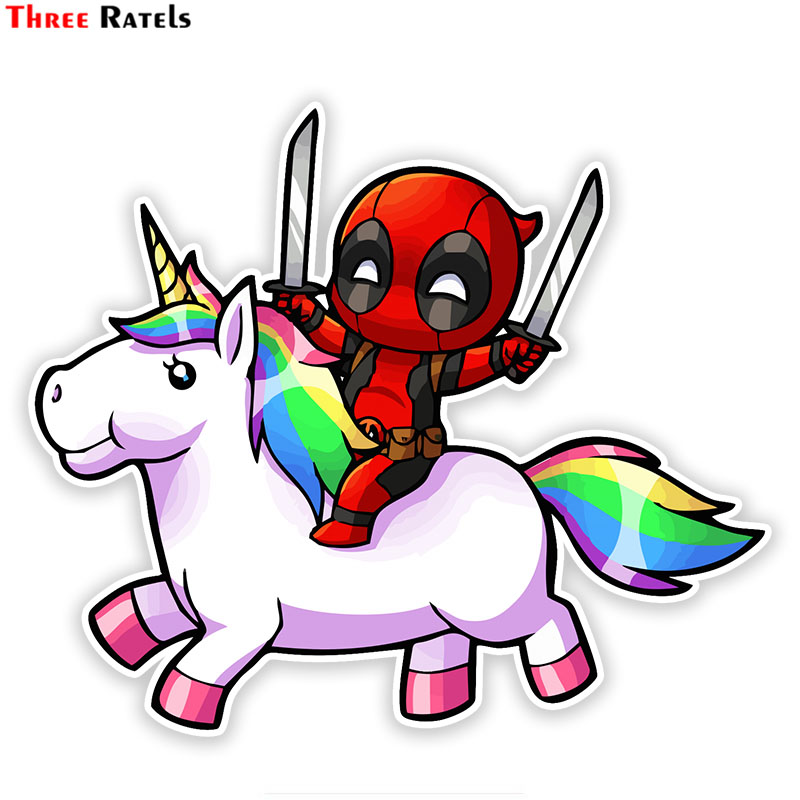 Three Ratels FTC-776# 13X15.2CM Cute Deadpool On Rainbow Horse Window Wall Bedroom Auto Motorcycle Car Sticker Decal
