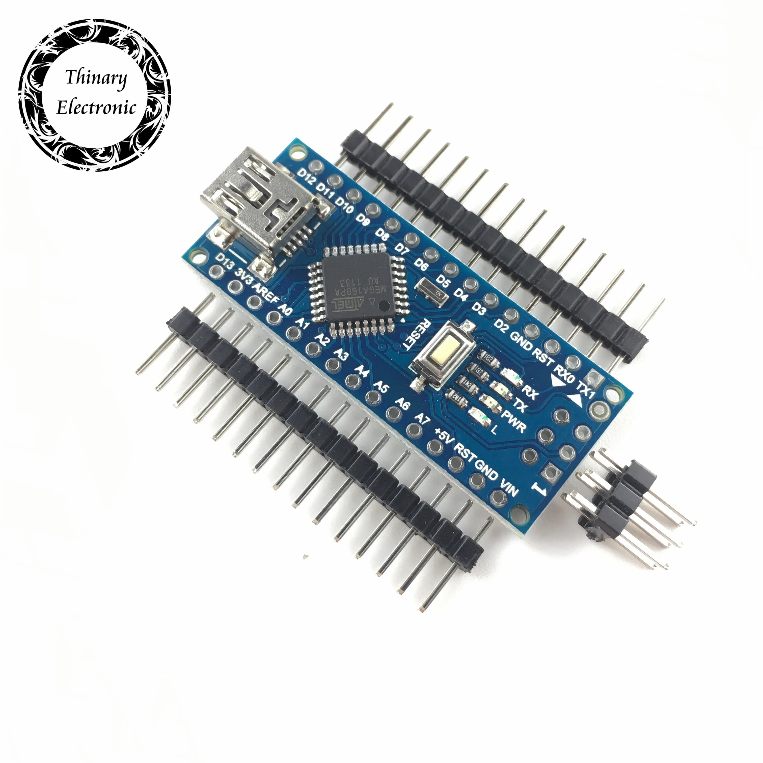 Контроллер Thinary Electronic 5 шт./лот Nano Atmega168, совместимый с arduino nano CH340G, без кабеля Atmega168P, сменный Atmega328P