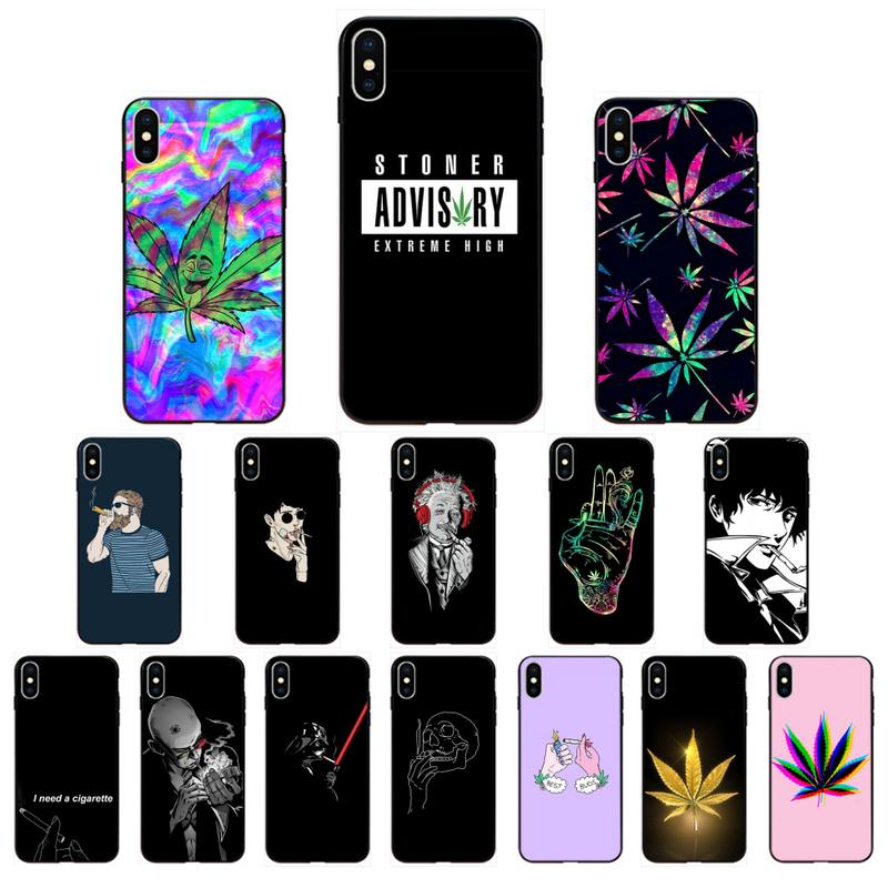 FHNBLJ Weed Cigarette Smoking Tobacco TPU black Phone Case Cover for iPhone 11 pro XS MAX 8 7 6 6S Plus X 5 5S SE XR SE2020