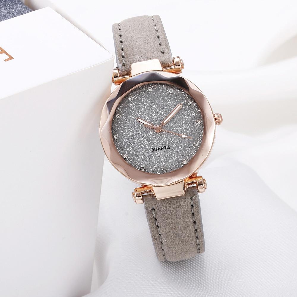 Casual Women Romantic Starry Sky Wrist Watch Leather Rhinestone Designer Ladies Clock Simple Dress Gfit Montre Femme 1