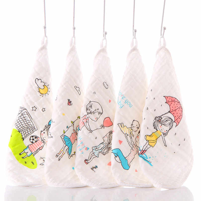 5 個新生児ハンカチ正方形ベビーフェイスタオル手入浴タオル 30 × 30 センチメートルモスリン綿の幼児フェイスタオル拭く綿の布