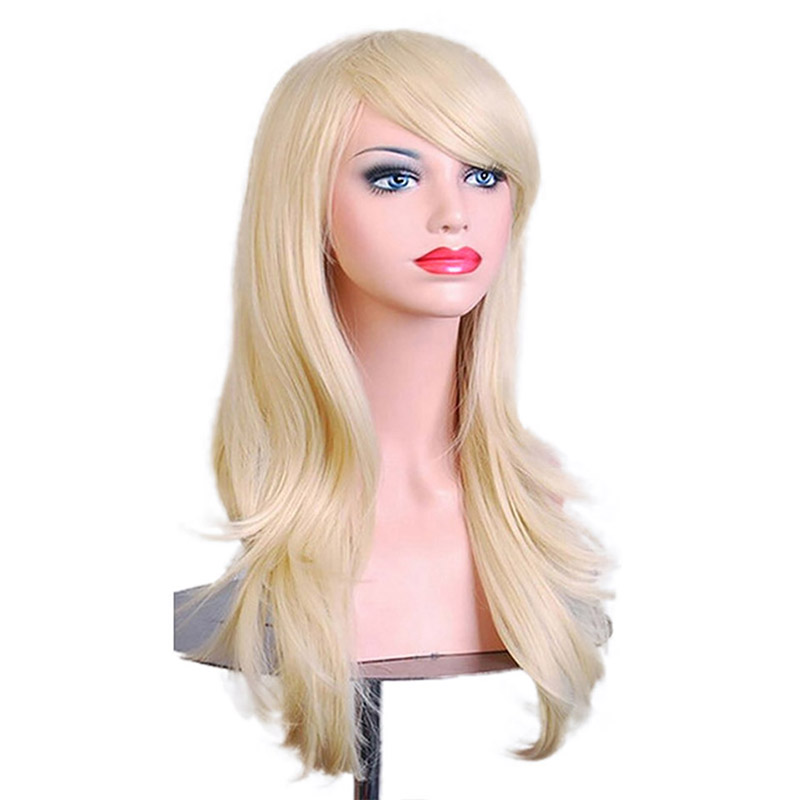 WTB Long Wavy Hair Synthetic Wigs For Black Women Black Yellow White Red Pink Blonde Cosplay Wigs For Women Heat Resistant 26