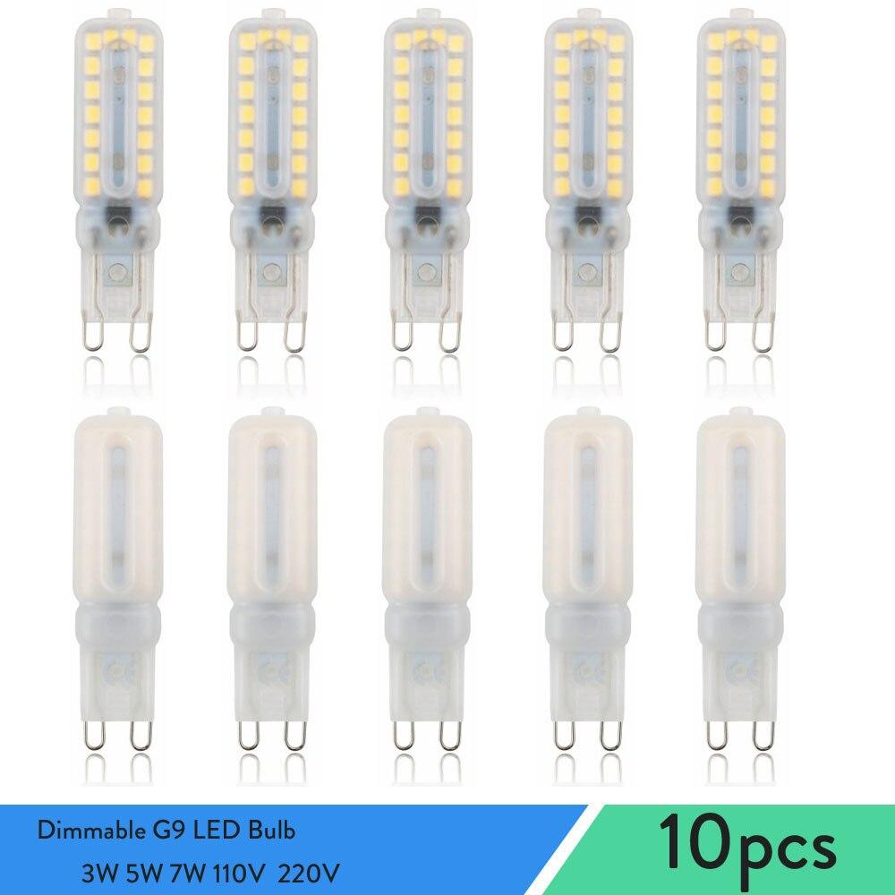 Диммируемые светодиодсветодиодный лампы G9, 10 шт., точечные светильники 2835SMD Bombilla 3 Вт 5 Вт 7 Вт, заменяемые галогеновые лампы 30 Вт 40 Вт для дома,...