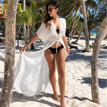 2021 Boho White Crochet Knitted Beach Cover Up Dress Tunic Long Pareos Bikinis Cover Ups Swim Cover Up Robe Plage Beachwear
