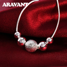 Silber 925 Schmuck Glatte Schleifen Ball Halskette Ketten Für Frauen Mode Schmuck