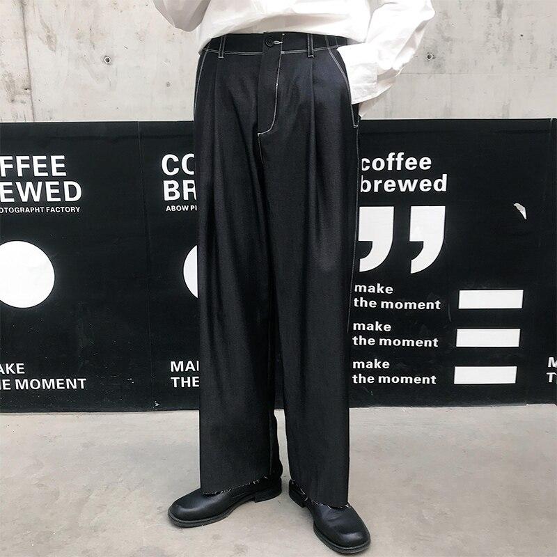 Men Vintage Fashion Loose Casual Black Wide Leg Suit Pants Male Streetwear Hip Hop Straight Harem Trouser