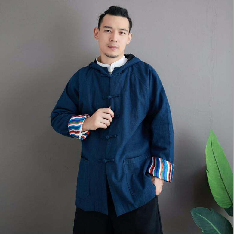 Chinese Yunnan Ethnic Minority New Winter Plush Wave Hoodie Retro Style Men's Tang Cotton Suit Loose Casual Cotton Tang Clothing