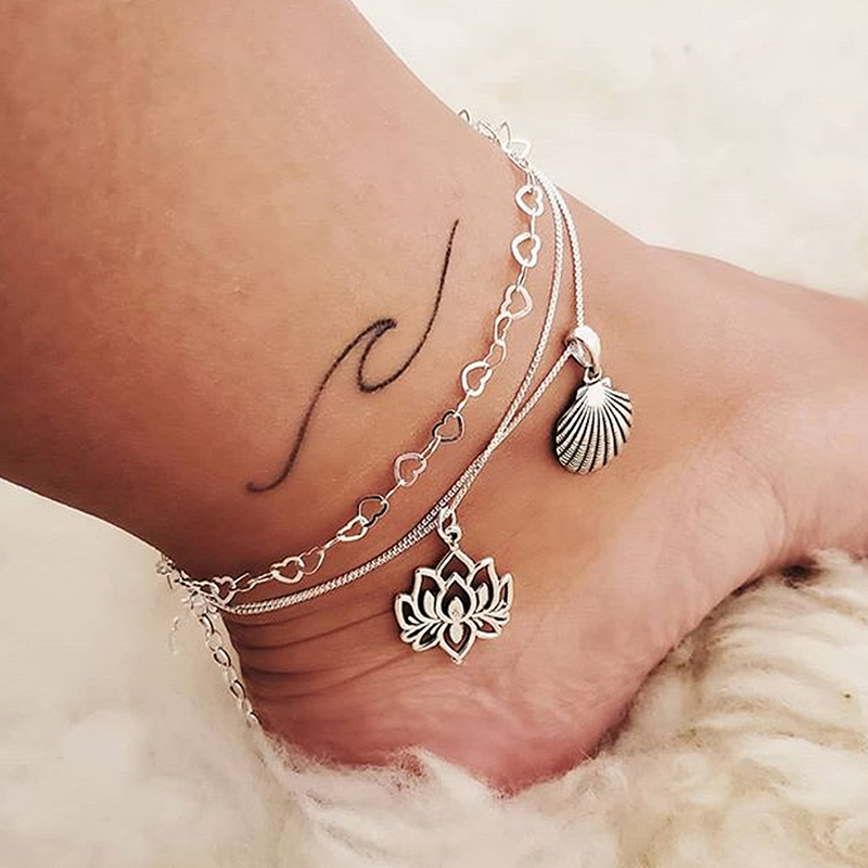 2Pcs/set Cute Lotus Conch Heart Chain Anklets Fashion Women Multi-layer Flower Shell Hearts Ankle Bracelets Women Foot Jewelry