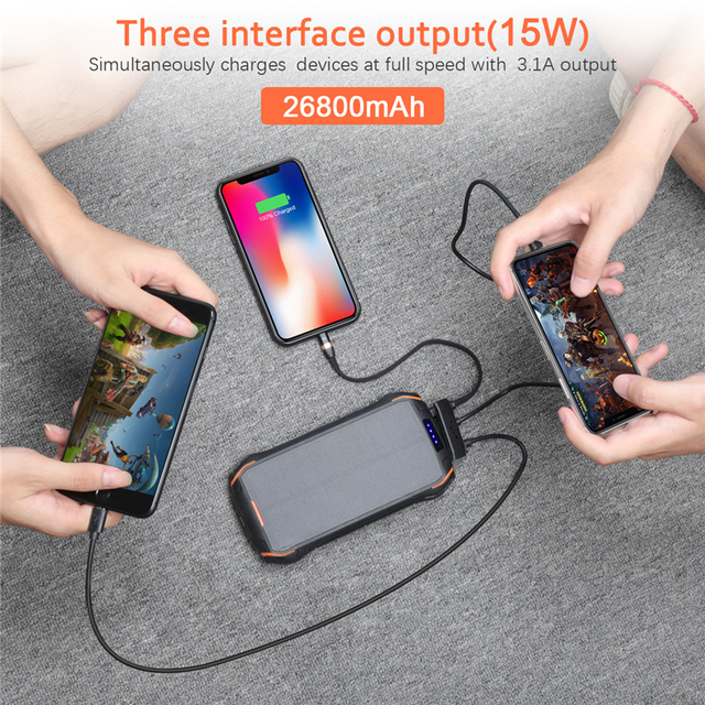 26800mAh Solar Power Bank Fast Qi Wireless Charger For iPhone Samsung Powerbank External Battery Portable Poverbank Flashlight 3