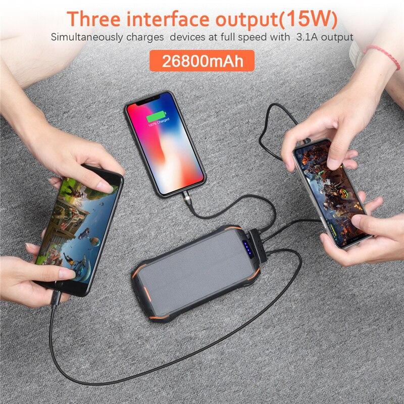 26800 мАч солнечный банк питания быстрое Qi Беспроводное зарядное устройство для iPhone samsung Внешний аккумулятор портативный повербанк фонарик