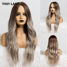 TINY LANA Long Wavy Synthetic Wigs Ombre Brown Ash Middle Part
