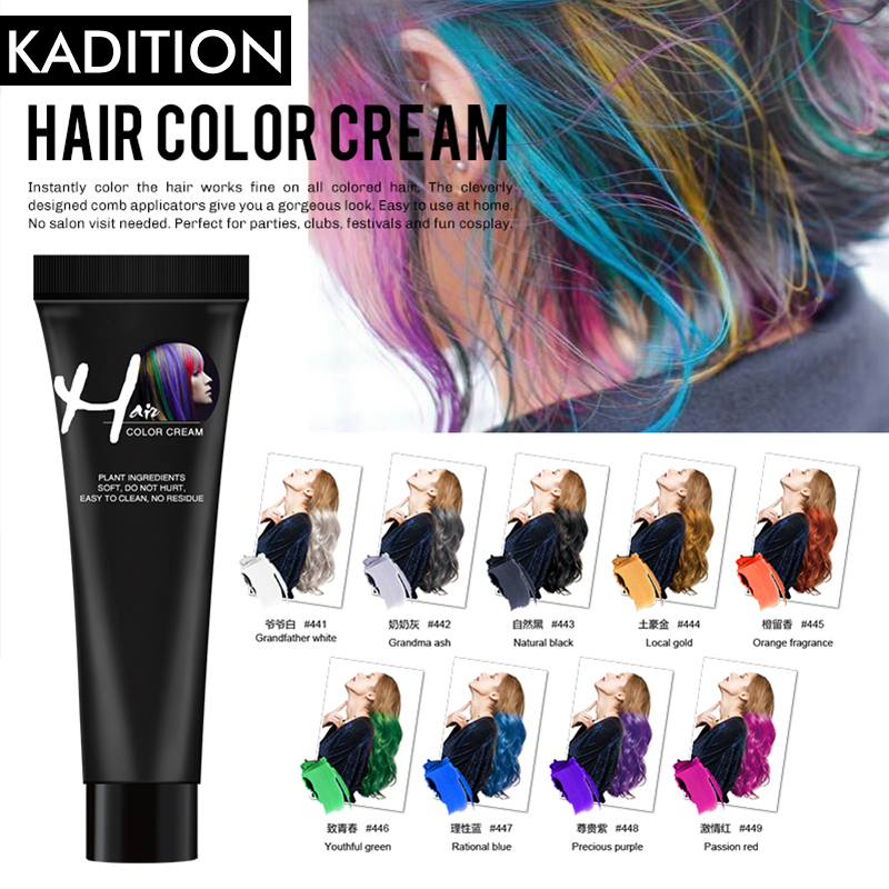 Color Hair Dye No Irritation Super Hair Dye Wax Hair Color Cream Non-toxic DIY Hair Styling Coloring Molding Paste Red Blue Gray