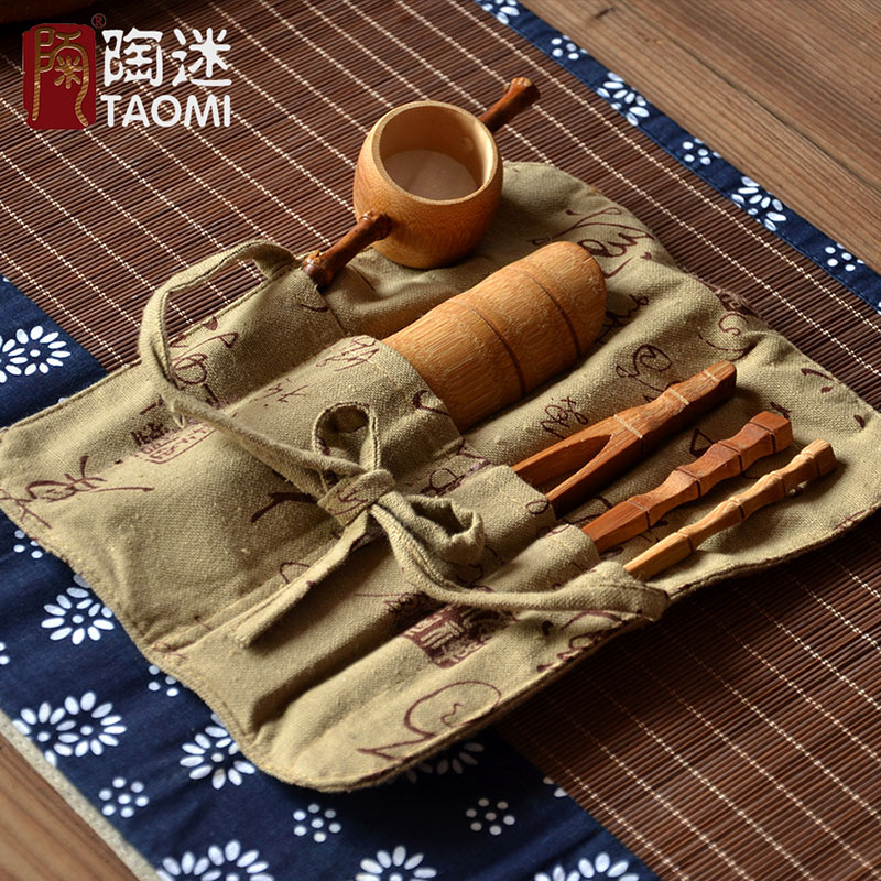 [GRANDNESS] Coffee Tea Tools,Natural Bamboo Tea Ceremony Set,Bamboo Tea Tools Set,Chinese Kung Fu Tea Set Accessories