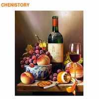 Marco de CHENISTORY Diy pintura por números vino fruta clásica pared arte imagen regalo único pintura acrílica por números arte del hogar