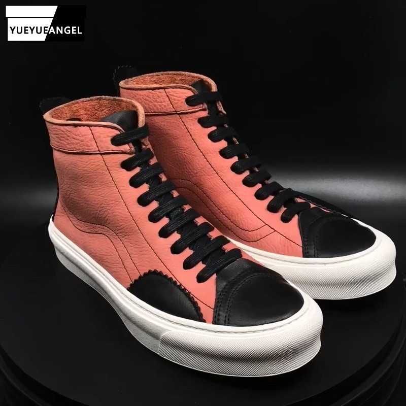 High Top Hip Hop Mens Genuine Leather Casual Leather Boots Personality Mixed Colors Round Toe Lacke Thick Bottom Boots Sneakers