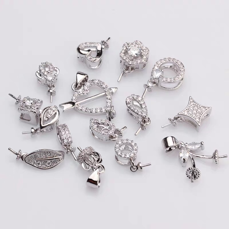 MIX STYLE Silver Plated Material Pendant Mountings Findings Settings Parts Fittings for Akoya Edison Pearls Corals, Jade