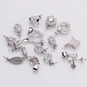 Image 1 - MIX TARZı Gümüş Kaplama Malzeme Kolye Montajları Bulguları Ayarları Parçaları Parçaları için Akoya Edison Inciler Mercanlar, Yeşim