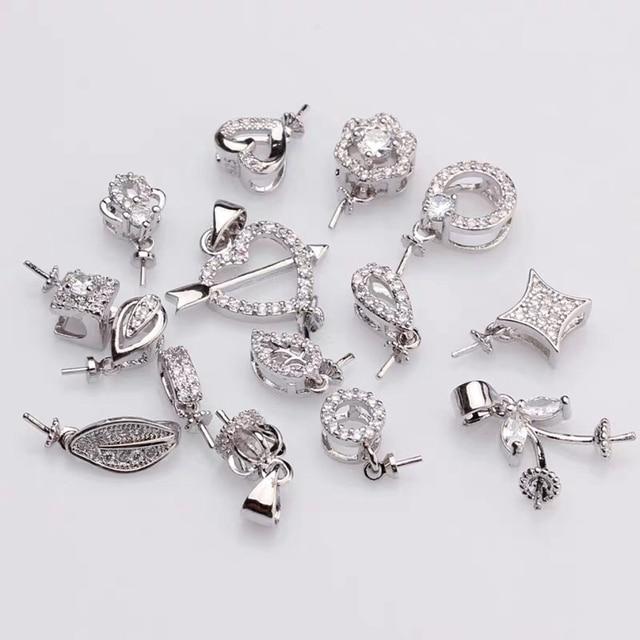 MIX TARZı Gümüş Kaplama Malzeme Kolye Montajları Bulguları Ayarları Parçaları Parçaları için Akoya Edison Inciler Mercanlar, Yeşim