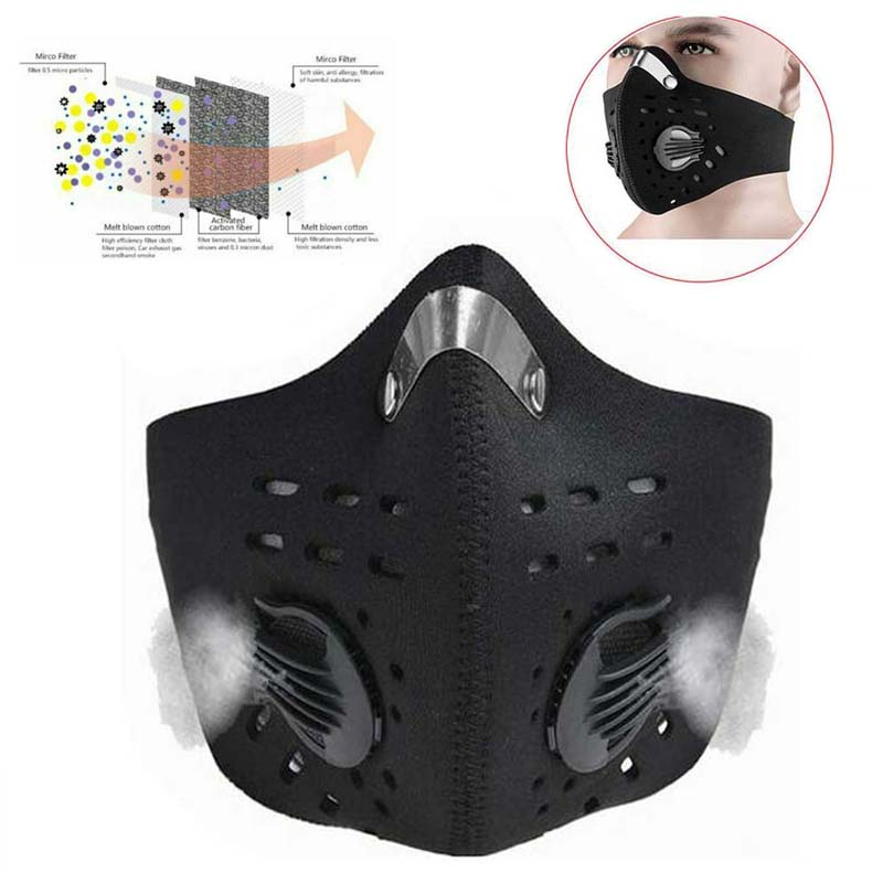 Antiviral Virus Cycling Mask Sport Face Mask With Filter Activated Carbon PM 2.5 Anti-Pollution Running Cycling Windproof Mask