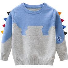 Вязаный свитер для мальчика с динозавром из мультфильма; Повседневные