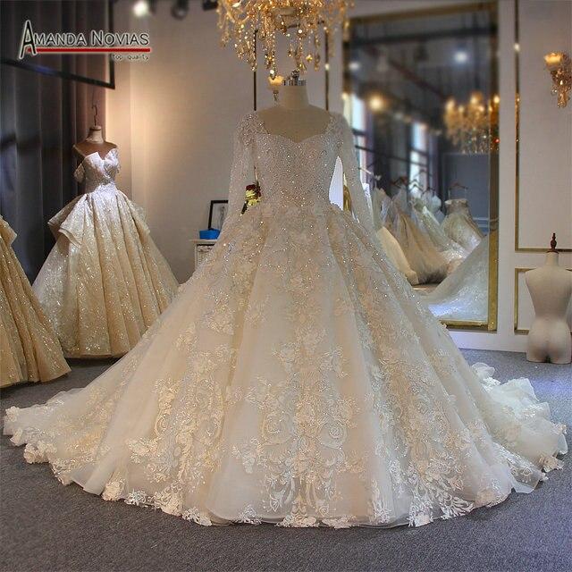 طويلة الأكمام الكرة ثوب كامل الديكور زفاف القادمون الجدد أزياء فستان عروس