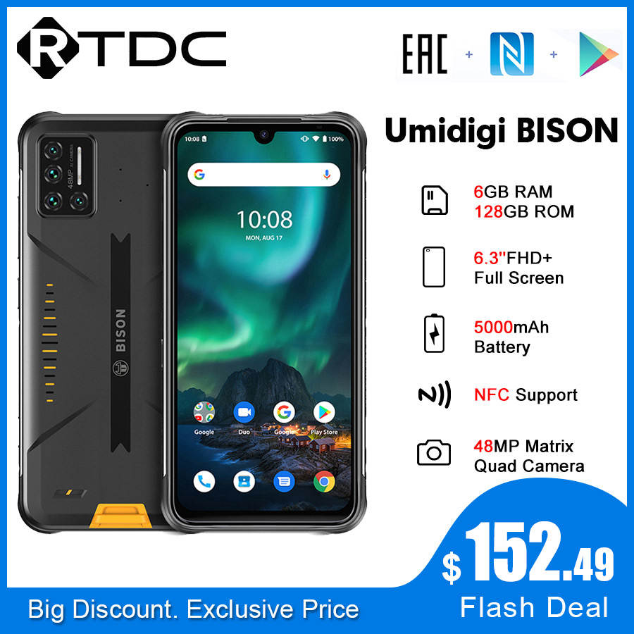 UMIDIGI BISON FHD 128GB 6GB GSM/LTE/WCDMA NFC Octa Core Side-Mounted 48MP New Android