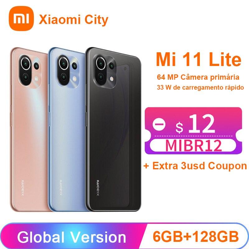 Смартфон Xiaomi mi 11 Lite NFC, 6 ГБ + 128 ГБ, Восьмиядерный процессор Snapdragon 732G, задняя камера 64 мп, 4520 мАч, Mi 11 Lite