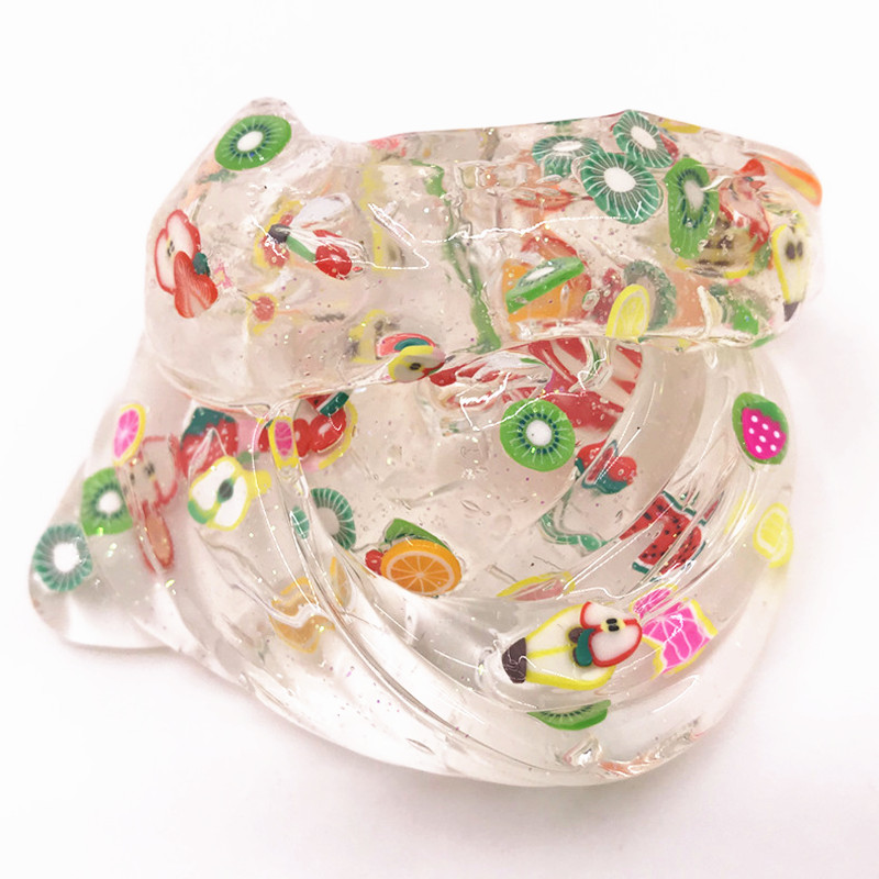 Slime Fruit Slice Crystal Mud Decompression Nasal Mud Transparent Slime Plasticity Strong Children Toy Gift Educational Toys