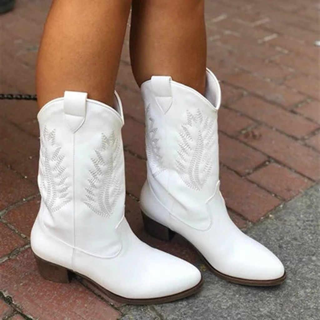 Women's Western Boots Winter Mid Tube