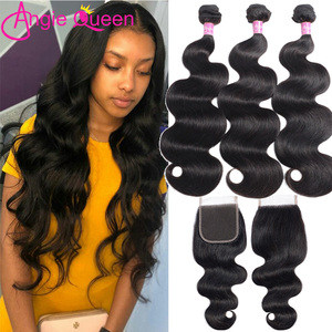body wave bundles with closure malaysian bundles with clsoure non remy hair 3 bundles with closure sew in middle part 24 26 inch(China)