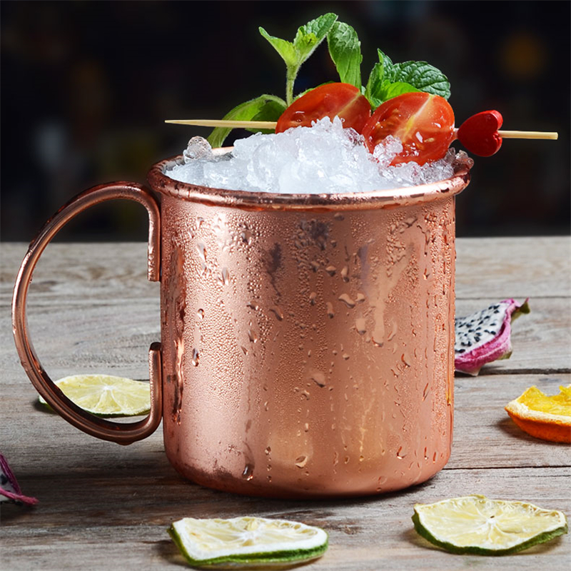 1 Piece 550ml Perfect Hammered Moscow Mule Mug Drum Copper Plated Beer Cup Coffee Cup Stainless Steel Copper Plated Cup in Mugs from Home Garden