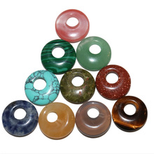 5pcs/lot 18mm Natural Turquoises Agates Jades Crystal Stone Donut Charm Pendant Beads For Jewelry Making DIY Necklace Earrings