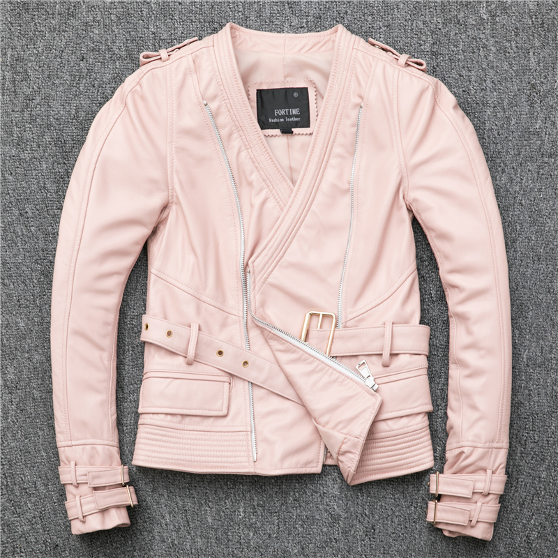 Free Shipping,Brand New Style Women Leather Coat.sales.fashion Slim Sheepskin Jacket.street Pink Motor Jacket.lady Quality