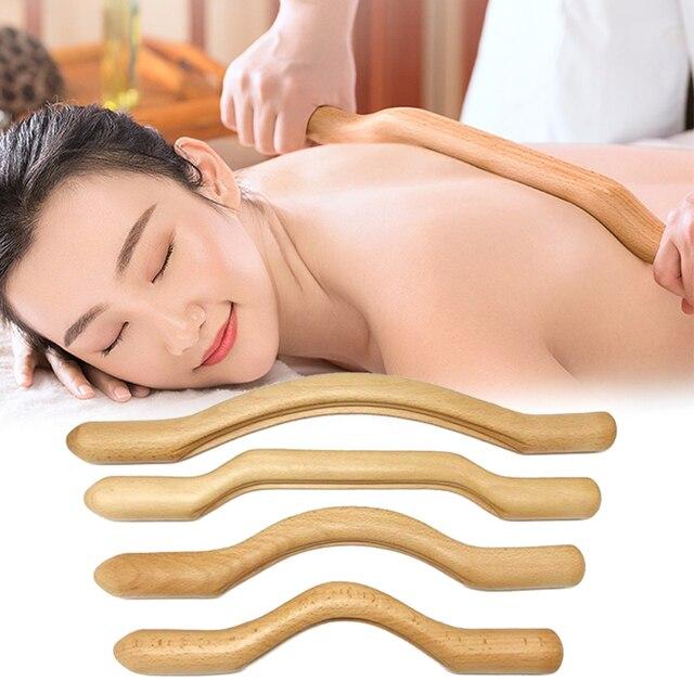 4 Pcs Guasha Scraping Stick Made From Natural Wood Fast Large Area GuaSha Set For Back Shoulder Neck Waist Leg Massage Tools