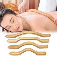 Palo de raspado gusha de madera Natural, herramientas de masaje para piernas, espalda, hombro, cuello, cintura, 4 Uds.
