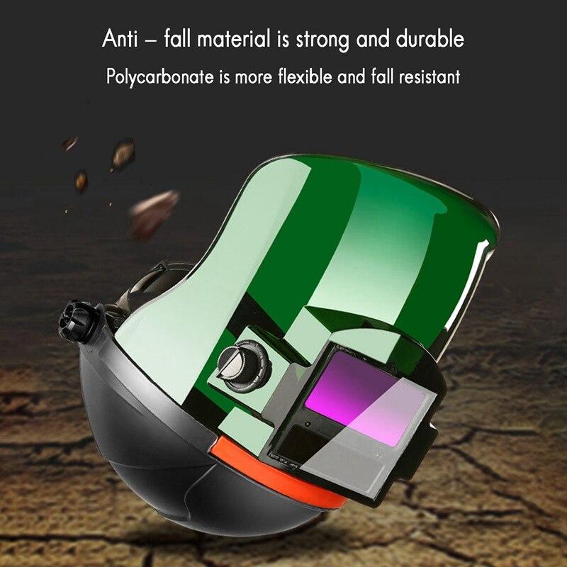 Casco de soldadura proteccion eléctrico arco de argón montado en la cabeza con tapa plana