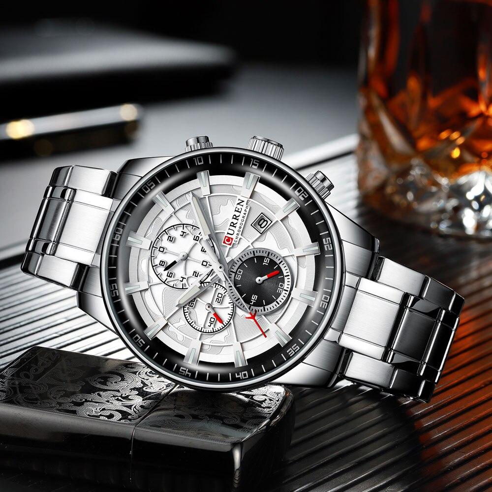 He6d24c62a82547bbb0af51c106500410G Men's Watches CURREN Top Luxury Brand Fashion Quartz Men Watch Waterproof Chronograph Business Wristwatch Relogio Masculino