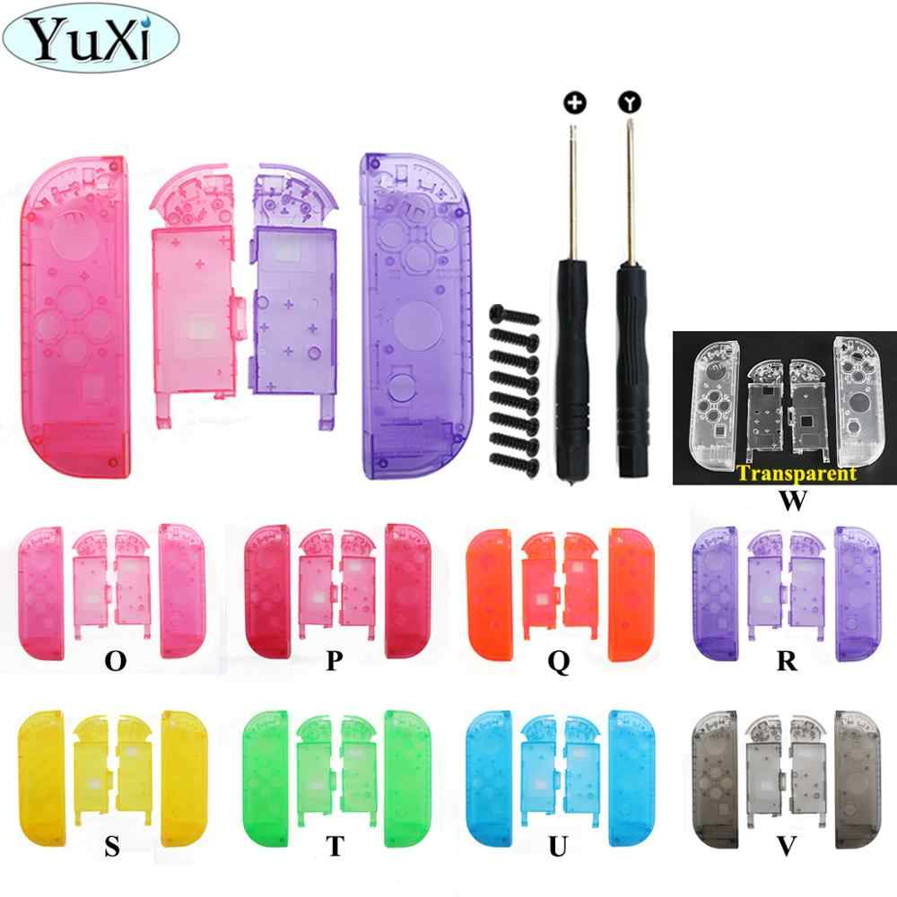 YuXi untuk Joy-Con Transparan Shell untuk Nintend Switch NS JoyCon Controller DIY Penggantian Housing Shell Kanan Kiri Case + Alat