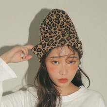 Korea Vintage Leopard Beanies Women Autumn Winter Fashion Skullies Warm Knitting Woolen Hat Black Dot Skullcap