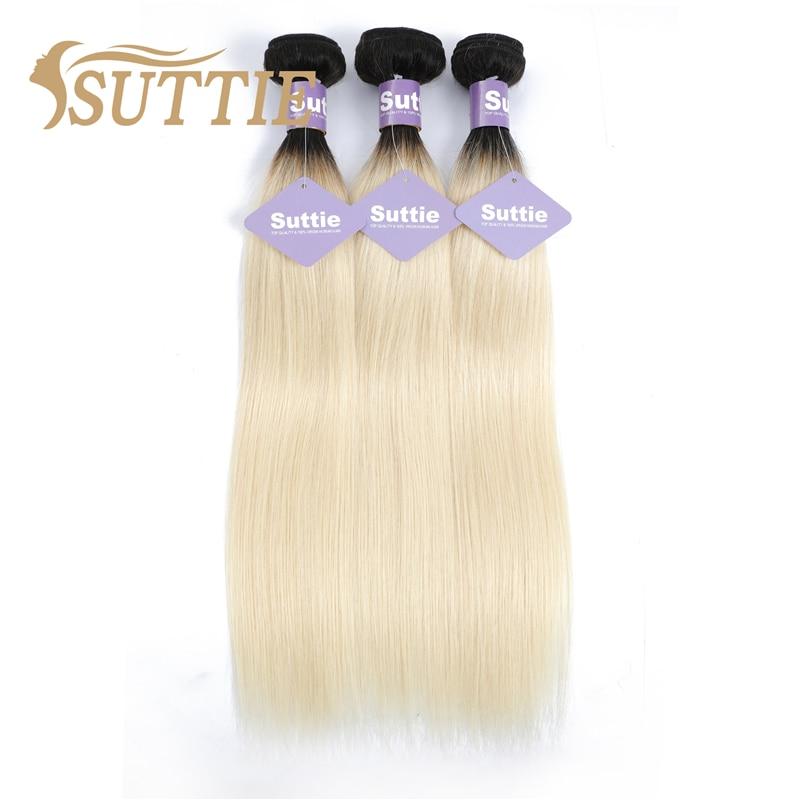 Suttie Omber 1b613 Blonde Straight Human Hair Bundles Peruvian Remy Human Hair Extension Honey Blonde Bundles Weave