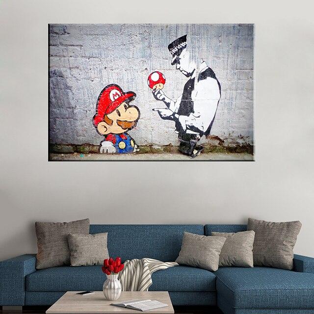 Impressions de toile dart murale | Peinture, décoration de la maison, 1 panneau de graffitis Banksy, photos Mario et Cop, cadre modulaire, affiche de couloir et de chambre