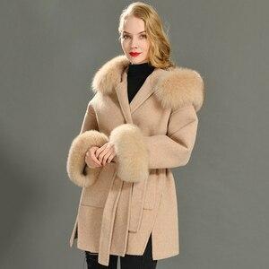 Image 4 - Kaşmir ceket kadınlar ayrılabilir tilki kürk yaka yün karışımı ceket ve ceket kemer bayanlar sonbahar kış kaşmir palto