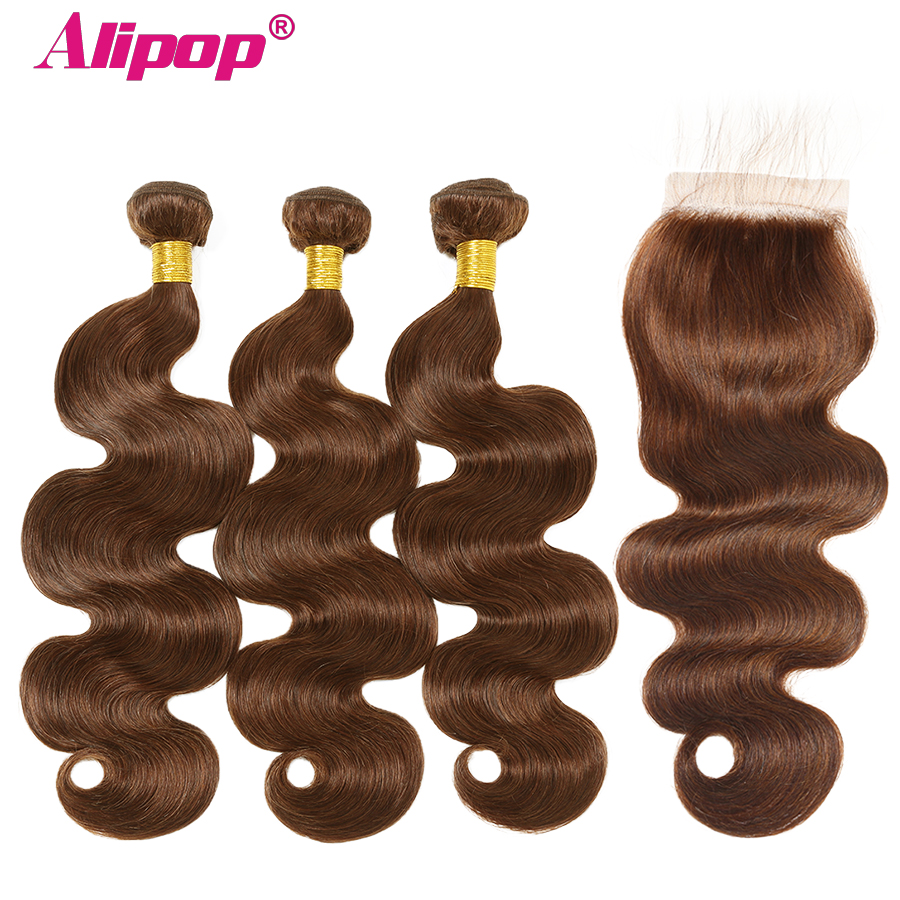 Alipop #4 Body Wave Hair Bundles With Closure Brazilian Hair Bundles With Closure Light Brown 100% Human Hair Bundles Non Remy
