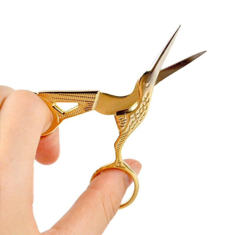 Wholesale Stainless Steel Beauty Cut Crane-Shape Shear Beauty Repair Eyebrow Scissors Pointed-Toe Nose Hair Scissors Beauty Tool