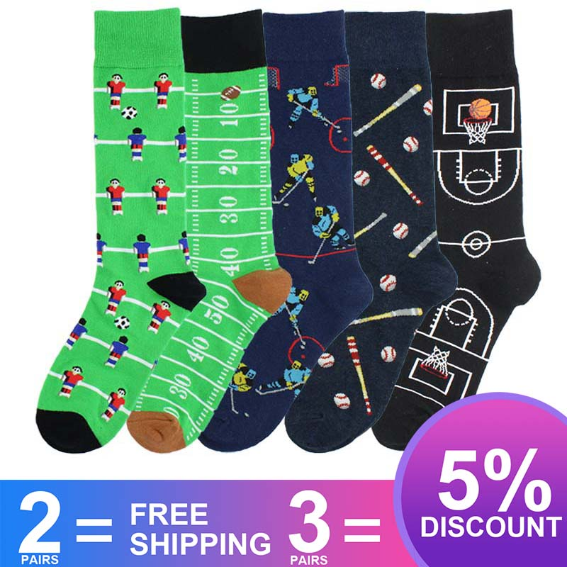Creative Man's Football Basketball Football Ice Rugby Baseball Print Crew Socks Boy Fashion Street Skateboard Funny Socks SA-8