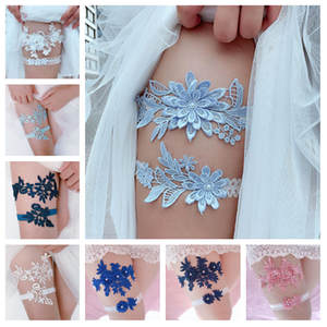 Wedding Garter Navy Thigh-Ring Bridal-Lace Floral White Female/bride Ring-Loop 2pcs Embroidery