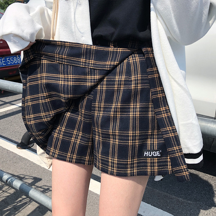 INS Super Fire Skirt Plaid Irregular High-waisted A- Line Skirt Short Culottes Skirt Women's